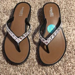36017db7666380 Capelli New York Girls Wedge Shape Flip Flops
